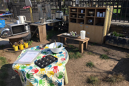 Mud kitchen - creating our own recipes